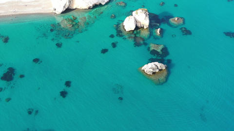 Cliff in the sea Cyprus coast aerial view Live Action