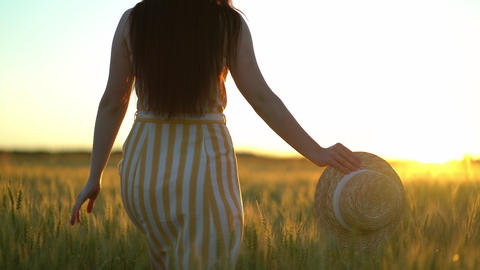 Beautiful young woman with a hat in her hands walks in the green field. Romantic Live Action