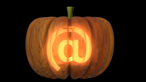 3d animated carved pumpkin halloween text typeface with candle light animation loop Animation