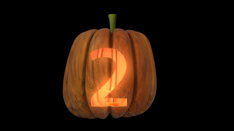 3d animated carved pumpkin halloween text typeface with candle light animation loop 2 Animation