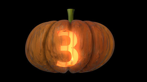 3d animated carved pumpkin halloween text typeface with candle light animation loop 3 Animation