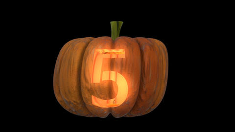 3d animated carved pumpkin halloween text typeface with candle light animation loop 5 Animation