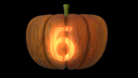 3d animated carved pumpkin halloween text typeface with candle light animation loop 6 Animation