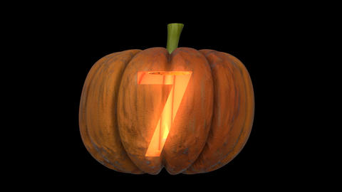 3d animated carved pumpkin halloween text typeface with candle light animation loop 7 Animation