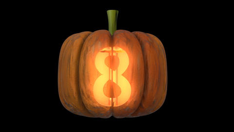 3d animated carved pumpkin halloween text typeface with candle light animation loop 8 Animation