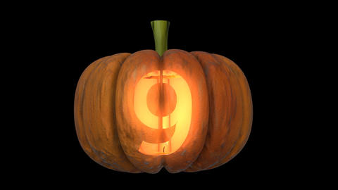 3d animated carved pumpkin halloween text typeface with candle light animation loop 9 Animation