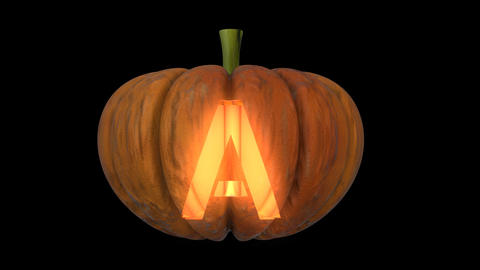 3d animated carved pumpkin halloween text typeface with candle light animation loop A Animation