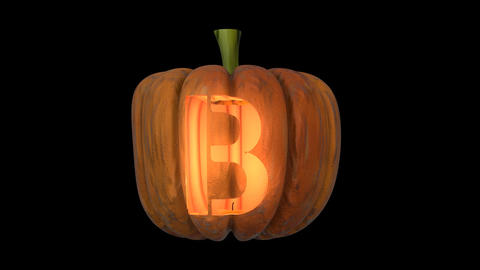 3d animated carved pumpkin halloween text typeface with candle light animation loop B Animation
