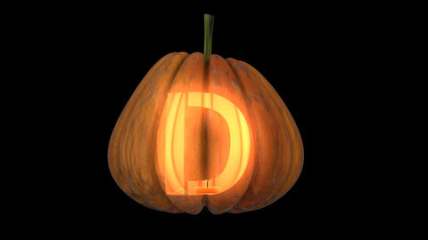 3d animated carved pumpkin halloween text typeface with candle light animation loop D Animation