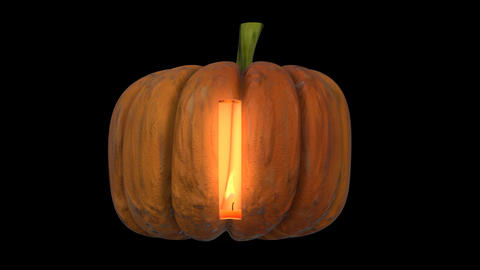 3d animated carved pumpkin halloween text typeface with candle light animation loop I Animation