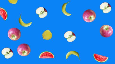 Realistic fruits animation on blue screen editable chroma key background Animation