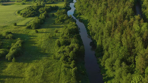 River Aerial & Rural Fields In Lithuania Live Action