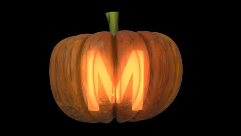 3d animated carved pumpkin halloween text typeface with candle light animation loop M Animation