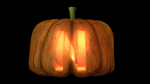 3d animated carved pumpkin halloween text typeface with candle light animation loop N Animation