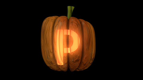 3d animated carved pumpkin halloween text typeface with candle light animation loop P Animation