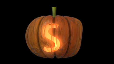 3d animated carved pumpkin halloween text typeface with candle light animation loop S Animation