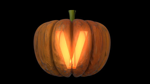 3d animated carved pumpkin halloween text typeface with candle light animation loop V Animation