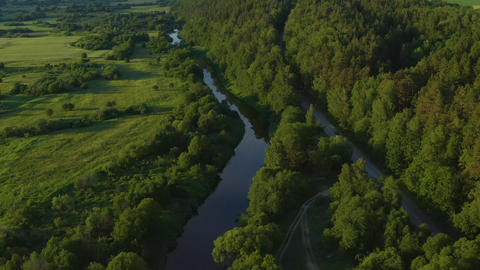 Rural River & Road In Lithuania Live Action