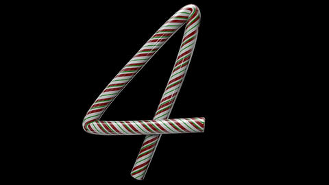 Glossy candy cane 3d animated text typography with separate alpha channel 4 Animation