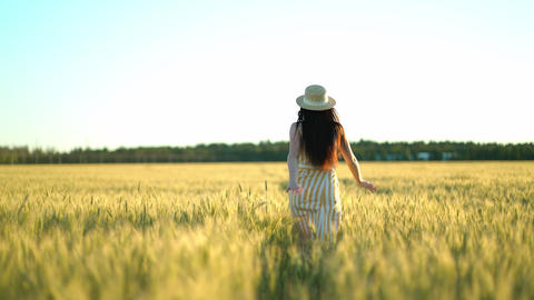 Beauty girl with long hair in dress running on wheat field in sunset summer Live Action