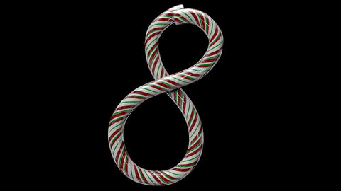 Glossy candy cane 3d animated text typography with separate alpha channel 8 Animation