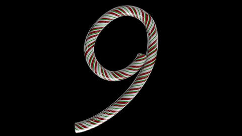 Glossy candy cane 3d animated text typography with separate alpha channel 9 Animation