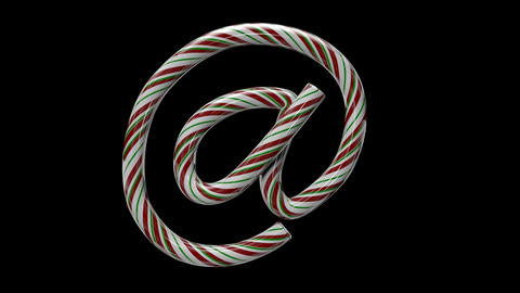 Glossy candy cane 3d animated text typography with separate alpha channel at Animation