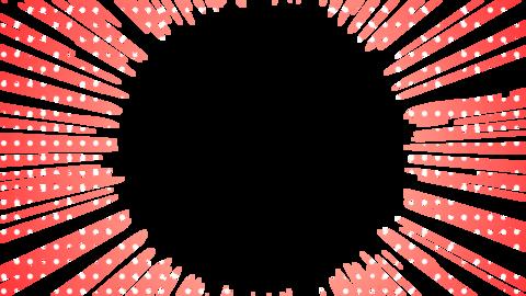 水玉の集中線_赤色背景_白ドット CG動画