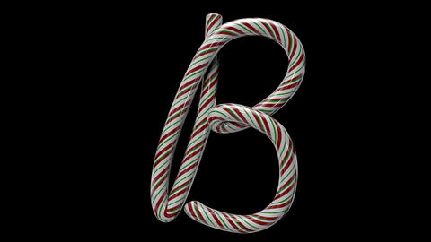 Glossy candy cane 3d animated text typography with separate alpha channel B Animation
