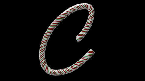 Glossy candy cane 3d animated text typography with separate alpha channel C Animation