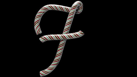Glossy candy cane 3d animated text typography with separate alpha channel F Animation