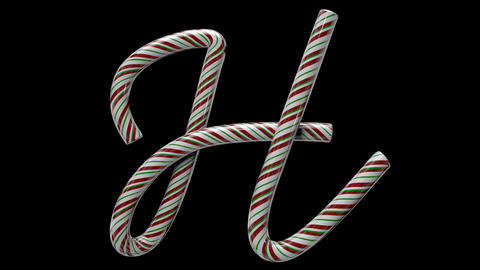 Glossy candy cane 3d animated text typography with separate alpha channel H Animation