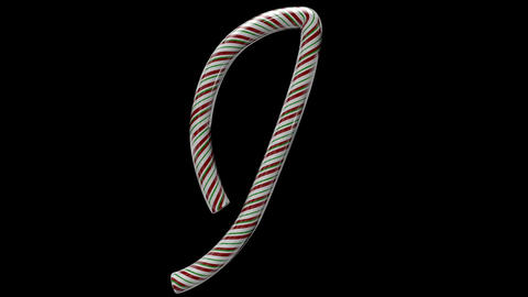 Glossy candy cane 3d animated text typography with separate alpha channel I Animation