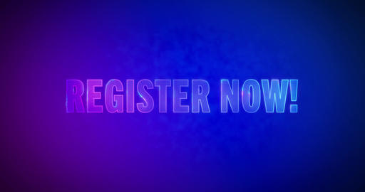 Register now. Electric lightning words. Logotype Animation