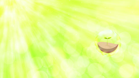 light green sunshine and leaf inside bubble, soap bubbles particle Animation