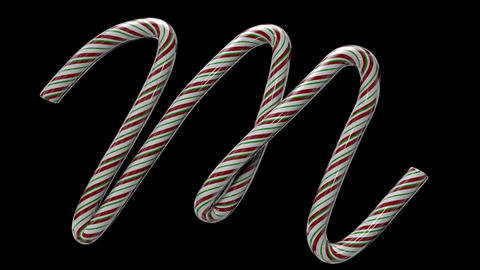 Glossy candy cane 3d animated text typography with separate alpha channel M Animation