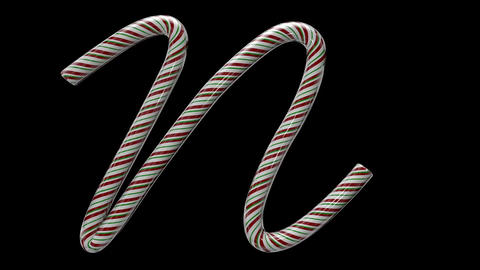 Glossy candy cane 3d animated text typography with separate alpha channel N Animation