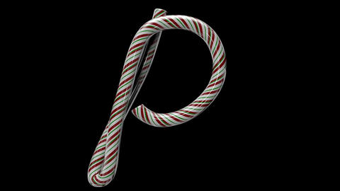Glossy candy cane 3d animated text typography with separate alpha channel P Animation