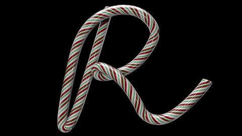 Glossy candy cane 3d animated text typography with separate alpha channel R Animation