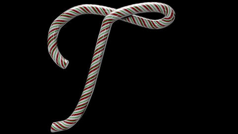 Glossy candy cane 3d animated text typography with separate alpha channel T Animation