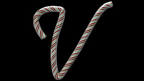 Glossy candy cane 3d animated text typography with separate alpha channel V Animation