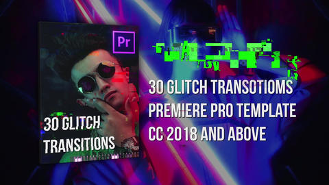 30 Glitch Transitions Plantillas de Premiere Pro
