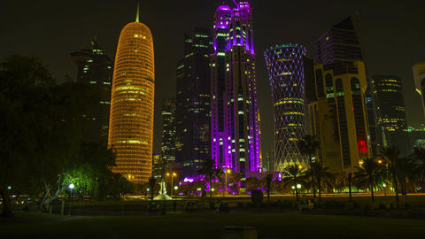4K timelapse Ministry of Prosecution at Al Jassimya Tower, Tornado Tower and Burj Doha tower, Qatar, Live Action
