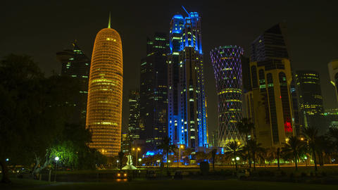 4K timelapse Ministry of Prosecution at Al Jassimya Tower, Tornado Tower and Burj Doha tower, Qatar Live Action