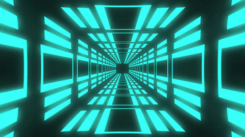 Abstract motion background endless loop with animation of square in futuristic tunnel with neon Animation