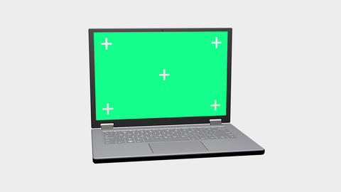 3D Rendering Laptop with Motion Tracking points and Green Screen for chroma key Rotating on White Animation