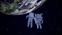 CG animation of astronauts floating in space Footage