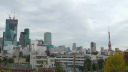 View of Tokyo Tower from Roppongi district, Tokyo, Japan Footage