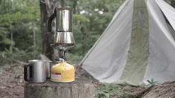 Coffee pot on a gas burner at a camping site, Yamanashi Prefecture, Japan Footage