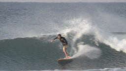Japanese surfer riding ocean wave, Chiba Prefecture, Japan Footage